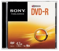 Sony DVD-R, 16X, SLIM CASE