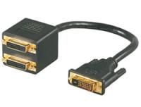Mcab DVI Y-SPLITTER CABLE 20CM BLAC