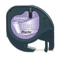 Dymo LT-TAPE 12MM/4M BLACK ON TRANS