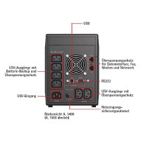AEG Protect A.1400 USV 1400VA/840Watt Tower LineInteractive 6xIEC320 C13 2xRJ11 1xRS232 1xUSB