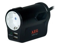 AEG Protect Travel mobiler Uberspannungsschutzadapter 1x Schuko 2x Eurostecker 2x USB Charger